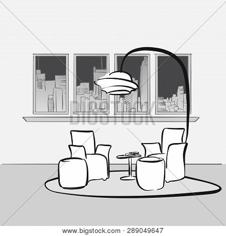 Sketched Interior Lounge Space. Hand Drawn Vector Illustration. Series Of Sketched Business Backgrou
