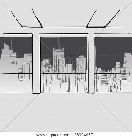 Office With Big Windows And Skyline In Background. Hand Drawn Vector Illustration. Series Of Sketche