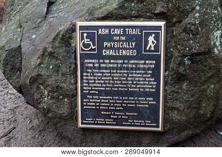 Logan, Ohio, Usa - December 28, 2014: Sign At The Ash Cave Trailhead Declaring The Trail Handicapped
