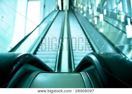 Two ways escalator in blue tone.