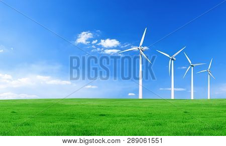 Renewable Energy With Wind Turbines. Wind Turbine In Green Hills. Ecology Environmental Background F