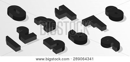 Black Isometric Numbers. 3d Effect Numbers. Vector Numbers For Any Typography Design. Eps8