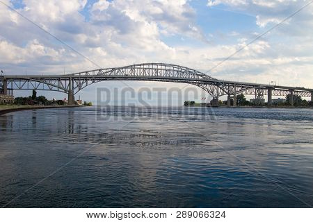 The Twin Spans Of The Blue Water Bridge Are The Link Between Port Huron, Michigan And Sarnia, Ontari