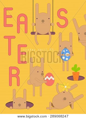 Easter Card - Cartoon Easter Bunnies, Eggs And Carrot On Yellow Background. Banner For Paschal Sprin