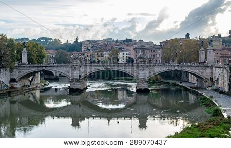 Rome, Italy - November 4, 2018: Ponte (bridge) Vittorio Emanuele Ii A Famous Bridge In Rome Across T