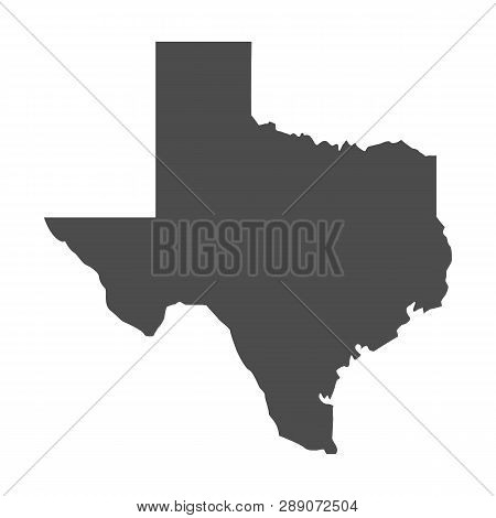 Texas Map Icon. Vector Texas Shape Isolated On White Background.