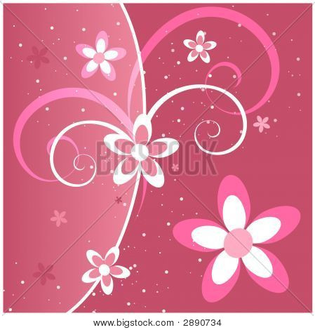 Pink Flowers And Swirls
