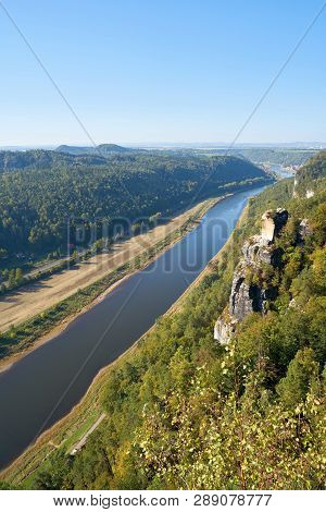 View From The Rock Of The Bastei In The Elbe Sandstone Mountains On The River Elbe Near Rathen
