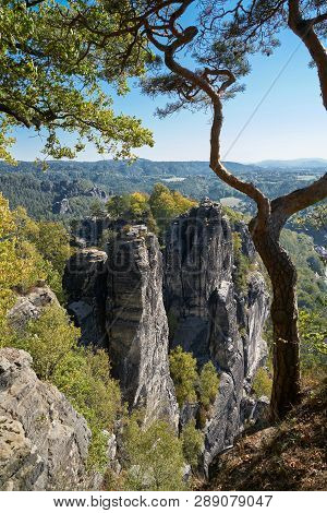 View From The Bastei On A Rock Formation In The Elbe Sandstone Mountains In Saxon Switzerland