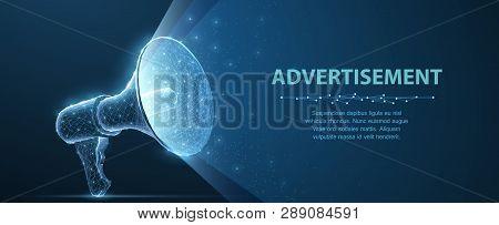 Bullhorn. Abstract Vector 3d Megaphone On Blue Background. Communication, Announcement Message, Shou