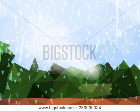 Vector Abstract Multicolored Background Of Raining Day. Wallpaper Of Weather With Trees In Low Poly