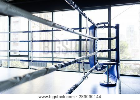 Empty Ring Overlooking The Bright Window. The Concept Of The Upcoming Competition. Boxing School Con
