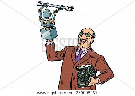 Inventor Engineer And Robot. New Technology Progress. Isolate On White Background. Pop Art Retro Vec