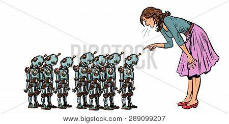 Learning Artificial Intelligence Concept, Woman Swears At Small Robots. Pop Art Retro Vector Illustr