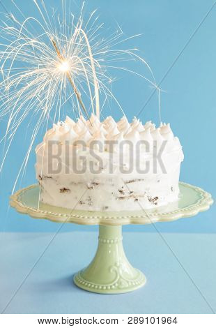 Admirable Birthday Cake With A Sparkler On Blue Background Poster Id 289101964 Funny Birthday Cards Online Inifodamsfinfo