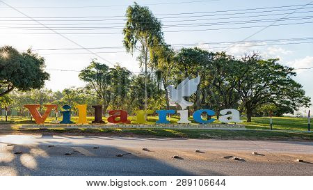 Villarrica, Paraguay - November 10, 2018: Villarrica Lettering. Villarrica Is A City In The Center O