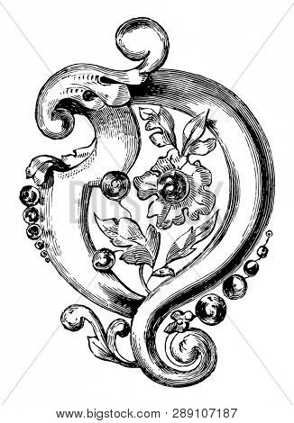 Brooch is a combination of flowers and leaves, vintage line drawing or engraving illustration. poster