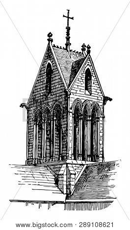 Gable Tower in France is finished with gables on two sides or on all four sides, crowning at the upper end, vintage line drawing or engraving illustration.