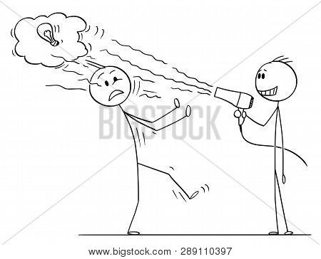 Cartoon Stick Figure Drawing Conceptual Illustration Of Businessman Using Hairdryer To Blow Off Inno