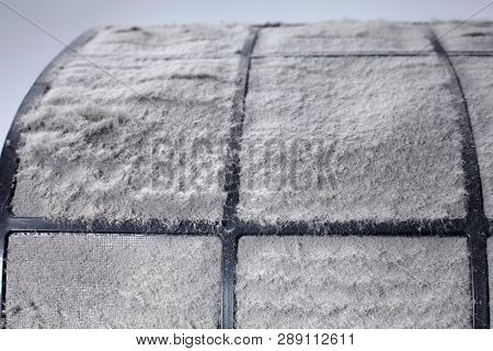 Flat Panel Fiberglass Filters Of Central Air Condition System With Dust.