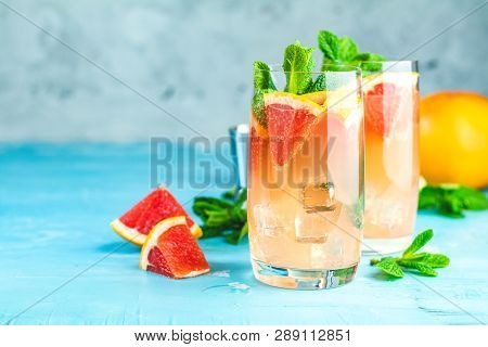 Grapefruit And Mint Gin Tonic Cocktail, Refreshing Drink With Ice. Cold Summer Citrus Refreshing Dri