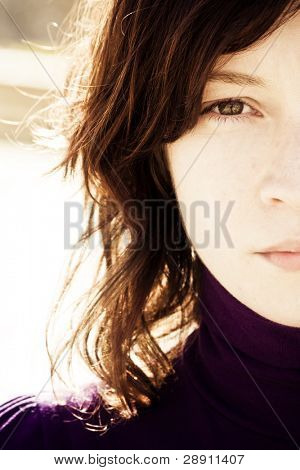Portrait of beauty with awe reflection in her eye.
