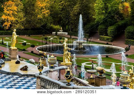 Petergof, Petersburg, Russia - June 28, 2017: Architecture In Petergof, Intercity Municipality As Pa