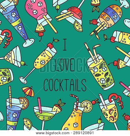 I Love Cocktails Alcochol Menus Doodle Cartoon Banner Vector Template