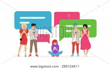 Chat Speech Bubbles For Texting Messages, Communicating And Sharing Meme Flat Vector Illustration Of