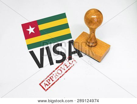 Togo Visa Approved With Rubber Stamp And Flag