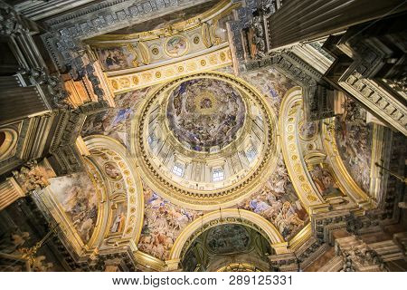 Naples, Italy - November, 2018: Interiors And Details Of Barroco Church Of The Gesu Nuovo In Naples,