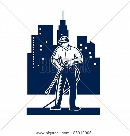 Illustration Of Male Worker With Pressure Washer Chemical Washing Using High-pressure Water Spray Wi