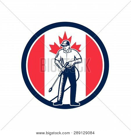 Illustration Of A Canadian Worker With Pressure Washer Chemical Washing Using High-pressure Water Sp