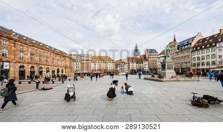 Strasbourg, France - Mar 12, 2019: Wide Image Of Central Place Kleber In Strasbourg On A Sunny After