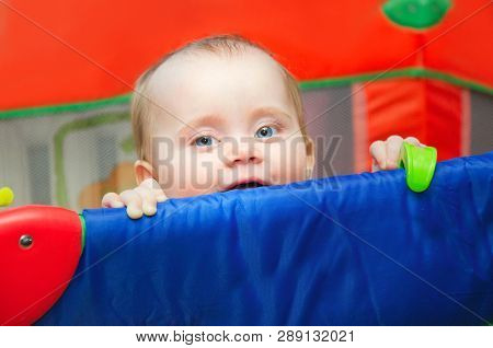 Little Smiling Girl Peeks Out Of The Playpen