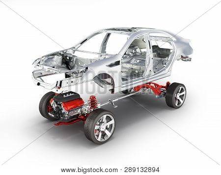 Body and suspension of the car with wheel and engine Undercarriage with bodycar in detail isolated on white background 3d poster