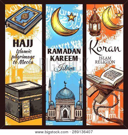 Islam Religion Ramadan Kareem, Muslim Hajj To Mecca And Arabic Koran Book. Islamic Kaaba Mosque, Cre