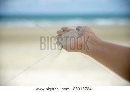Freedom,let It Go And Release Concept.freedom Hand Of Woman Release Sand On Beautiful Seabeach And B