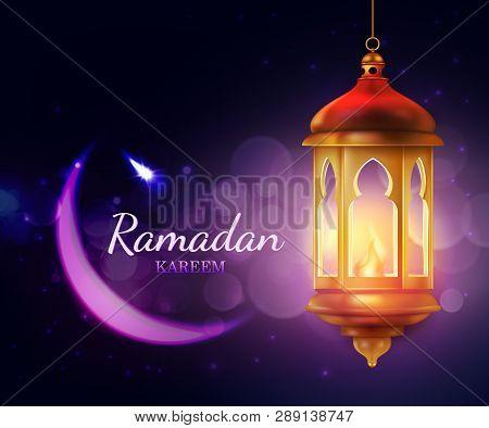 Ramadan Kareem Lantern, Islam Religion Festival Eid 3d Vector Greeting Card. Crescent Moon With Arab
