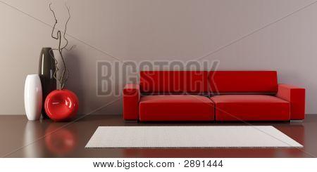 Salotto con divano e vasi