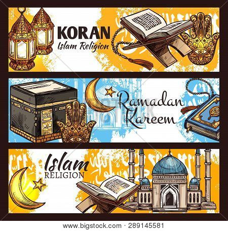 Islam Religion Ramadan Kareem, Muslim Sacred Koran Book And Muslem Mosque Sketches.crescent Moon, Ar