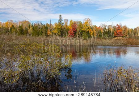 Autumn Nature Background. River Winds Through The Wilderness Of The Upper Peninsula In Newberry Mich
