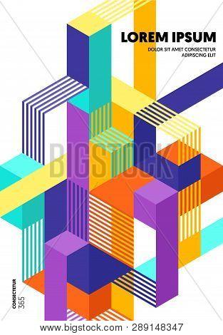 Abstract Geometric Isometric Shape Layout Design Template Background Modern Art Style. Design Elemen