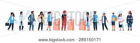 election day concept different occupations voters casting ballots at polling place during voting mix race people putting paper ballot in box full length flat horizontal banner poster