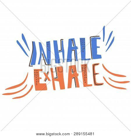 Yoga Vector Lettering. Inhale, Exhale. Flat Style