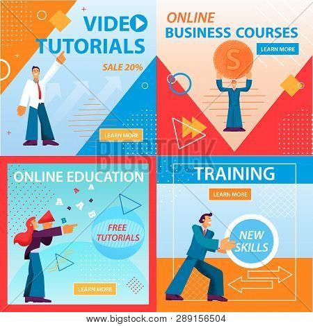 Flat Banner Set Video Tutorials Online Education, Business Courses Training. Vector Illustration On