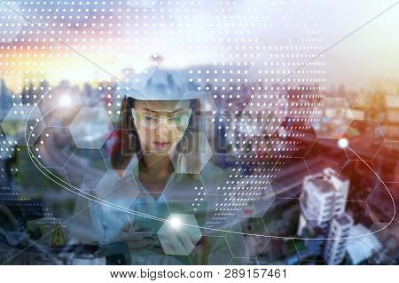 Double Exposure Of Chemists In Background ,concept For Innovations, Technologies And Science