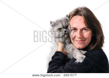 a woman holds her cat on her shoulder poster