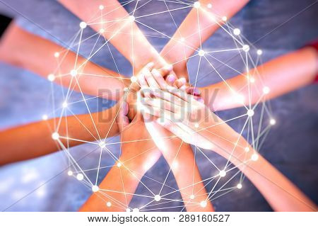Young Group Are Join Hands For Working The Job Success , Hands, Symbolizing The Hands To Unity And T