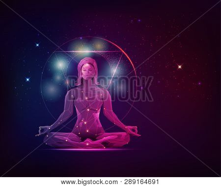 Concept Of Meditation And Spiritual Development, Graphic Of Female In Meditating Pose With Galaxy St